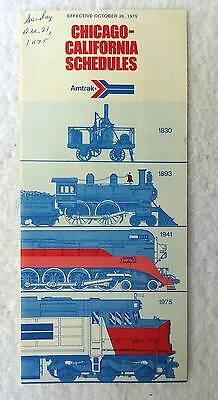 1975 AMTRAK RAILROAD TRAIN CHICAGO CALIFORNIA SCHEDULE TIMETABLE #99