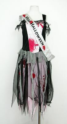 Ladies George black pink Halloween scary costume with sash midi dress size 12-14