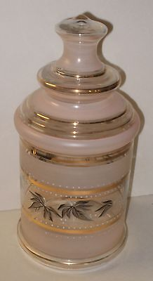 Vintage Pink & Gray Glass Large Apothecary Style Jar - Wedding Candy Buffet