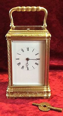 ENGRAVED GORGE CASE REPEATING CARRIAGE CLOCK BY J. SALDANO c 1880