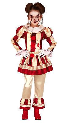 blutiges Clown Kostüm für Mädchen - Größe 110-146 - Kinder Fasching Karneval Hal