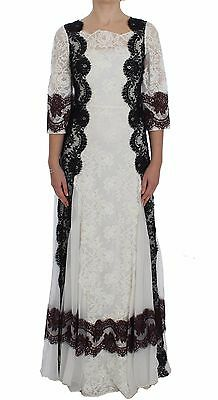 Dolce & Gabbana Vestido Blanco Encaje de Flores Largo Vestido IT38/ US4/...