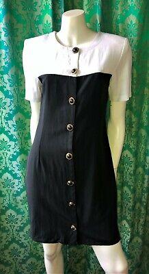 80s Dresses | Casual to Party Dresses True Vintage 80's 90's Suzanne Grae Black & White Block Colour Dress Size 10/S  $26.21 AT vintagedancer.com