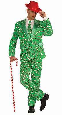Candy Cane Costume Adult Men's Suit Jacket Pants Tie Green Red Christmas - Candy Pants Kostüm