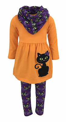 Unique Baby Girls Black Cat Halloween Outfit with Infinity Scarf Outfit - Black Halloween Outfit
