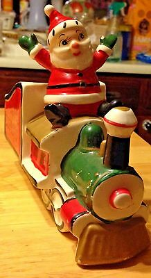 Vintage HOLT HOWARD SANTA EXPRESS TRAIN Ceramic CHRISTMAS PLANTER 1950's JAPAN *