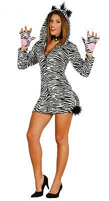 sexy Kostüm Zebra m.Kapuze Zebrakostüm Damen Zoo Dschungel Zebrakleid Karneval - Dschungel Kostüm Damen