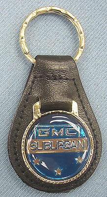 Vintage Blue Gmc Suburban Black Leather Usa Goldtone Keyring Chevrolet Stars