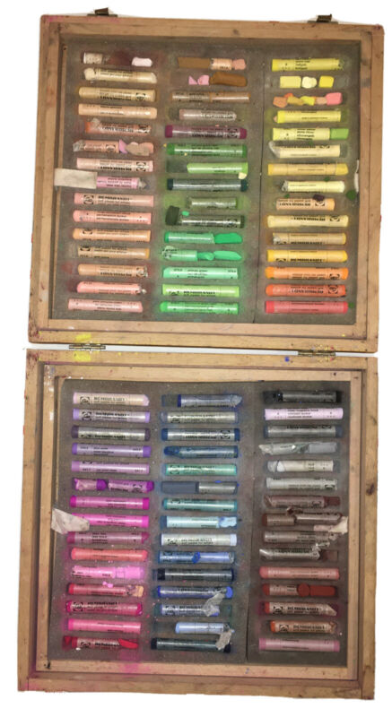 PAID $500 - REMBRANDT ARTISTS SOFT PASTELS IN WOODEN CASE