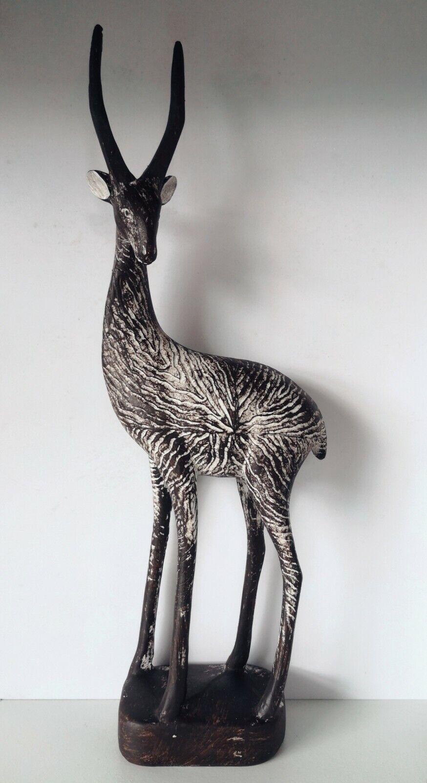 XL groß Deko Figur Gazelle Antilope braun Afrika Dekoobjekt Skulptur Statue
