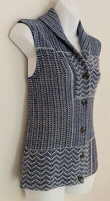 Button Front Knit Vest - Ralph Lauren CHAPS Women's Knit Sweater Vest Sz S Blue Button Front