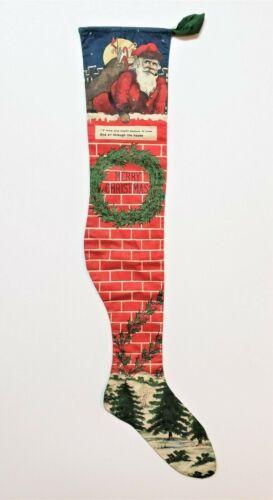 Antique Rare Printed Cloth Christmas Santa Stocking ca1915