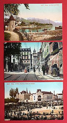 3 x AK VEVEY Schweiz 1911 Hafen, Strassenpartie und Platzansicht  ( 12950