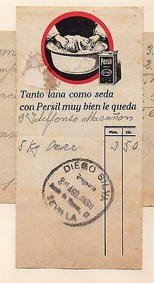 Publicidad detergente Persil de Drogeria en Sevilla del año 1938 (DA-926)