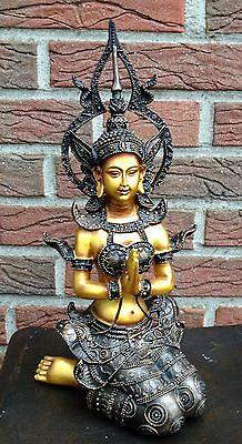 Buddha Tempelwächter auf Knien Dekofigur Figur Skulptur 32cm NEU