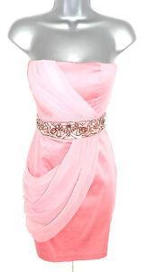 BNWT Jane Norman Peach Coral Embellished Jewel Draped Bandeau Dress 8