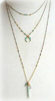 $59 NWT LUCKY BRAND HALF MOON MULTI LAYER  PENDANT NECKLACE SILVER TWO TONE Silver Half Moon Necklace