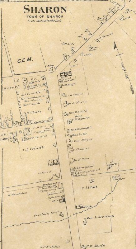 Sharon Cornwall Bridge Ellsworth CT 1874  Maps  with Homeowners Names Shown