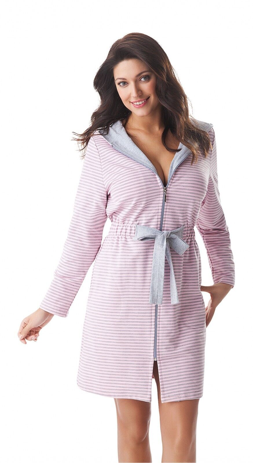 New Womens Short Zip Up Striped Hooded Bathrobe Dressing Gown Size ...