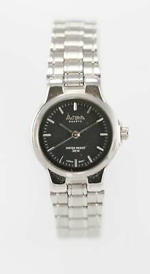 Activa Watch Women Stainless Steel Silver Water Resist 30m Black Battery Quartz