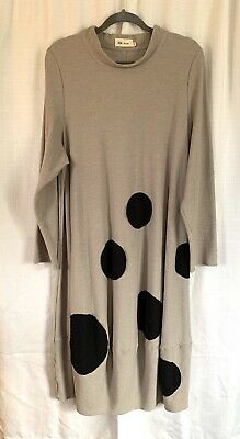Cheyenne Long Dress L/XL Beige w Big  Black Dots Stretch Flattering Unique Big Dot Dress