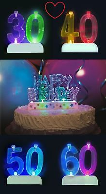 Flashing Number & Happy Birthday Candle Holder & 4 Candles Cake Decoration - Flashing Happy Birthday