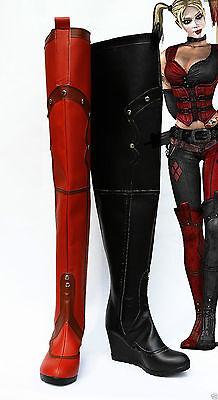 NEW Batman Arkham Asylum City Harley Quinn Cosplay Leather Boots Shoes Z.148](Batman Arkham Asylum Harley Quinn Costume)