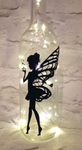 Home Decoration - X 2 Fairy With Hearts Wine Bottle Decal/sticker, To Fit Standard Bottles.