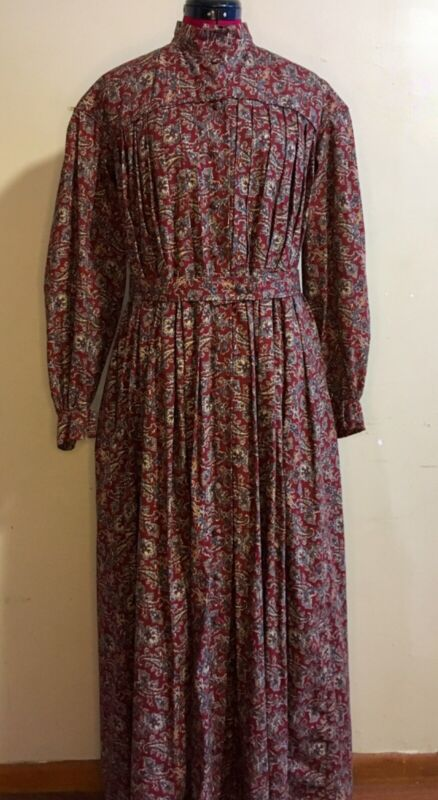 Burgandy Paisley Cotton Victorian Era Pleated Wrapper Dress