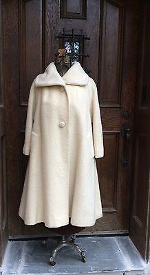 VINTAGE 1950's LILLI ANN PARIS WINTER WHITE MOHAIR Swing COAT M