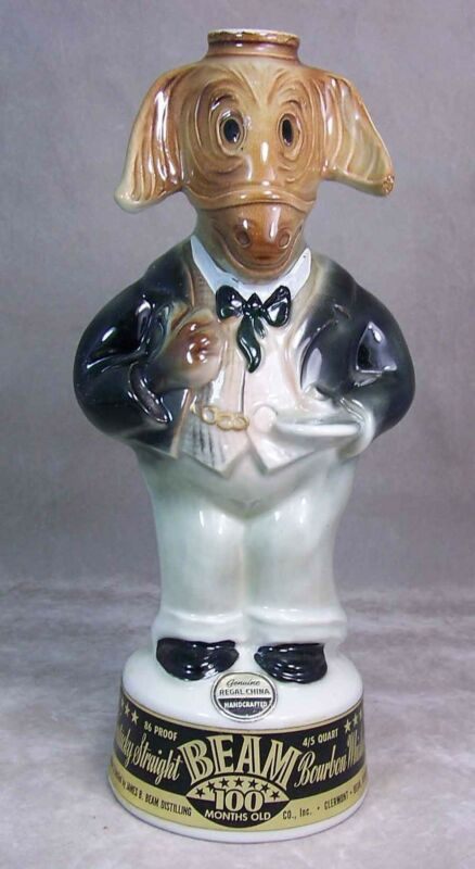 Vintage Regal China Jim Beam Decanter Bottle Donkey Democrat CAMPAINGNER 1960
