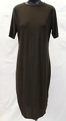 Boohoo Women's S/S Slinky Midi Bodycon Dress AN3 Brown Size US:14 UK:18 Plus NWT