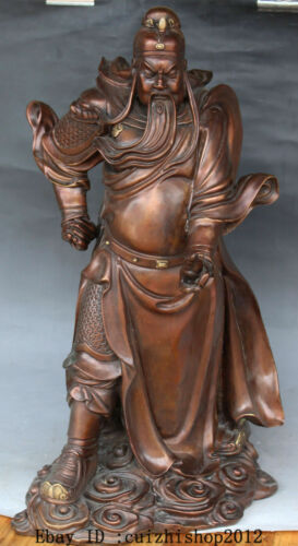 Chinese Red Bronze Copper Stand Guan Guan Yu Warrior God knight General statues