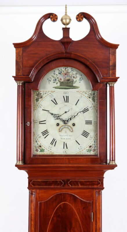 C 1800 Mitchell & Mott New York Inlaid Mahogany Tall Case Grandfather Clock