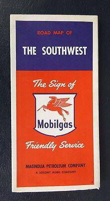 1955 Southwest United States  Road Map Magnolia Petroleum Oil  Gas Socony Vacuum