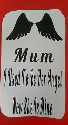 Wine Bottle/Vase/Lantern Vinyl Decal Sticker Mam/Mum I USED TO BE HER ANGEL