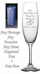 Personalised Engraved Champagne Flute Glass Birthday Wedding Bridesmaid Gift