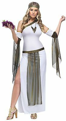 Womens Sexy Goddess Costume Long White Fancy Dress Greek Roman Egyptian Adult