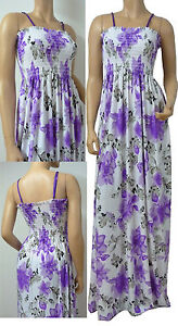 Strappy Summer Maxi Dress UK Size 10 - 26 (16D# Flower)
