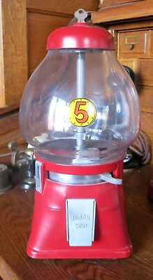 Vintage 5 cent Candy Gum Ball Machine Red with Original Key Glass Dome