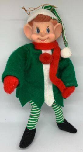 VINTAGE LARGE ELF PIXIE WITH REMOVABLE GREEN FELT COAT - FULLY POSEABLE!