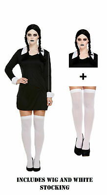 Adult Wednesday Addams Costume Creepy School Girl Gothic Halloween Fancy Dress