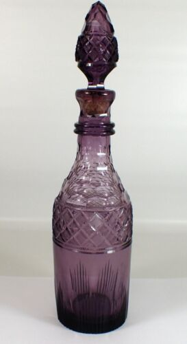 "RARE Fine Antique Vtg PURPLE Cut Crystal Bar Wine Liquor 14"" Decanter w Stopper"