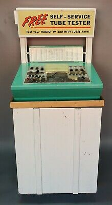Vtg Mercury Vacuum Tube Tester Self Service Retail Store Display Cabinet Sign