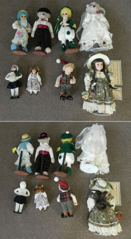 "Vintage Lot of 8 Dolls, 16"" Newly Wed Bears, and Troll - Angelina, Caroler, ..."