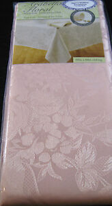 ARABELLA FLORAL DAMASK TABLECLOTH-EASY CARE/RESISTS STAINS- ASST. COLORS & SIZES