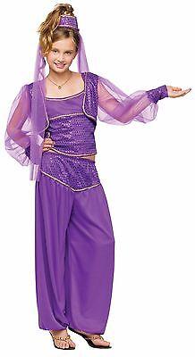 Girls Genie Costume Purple Belly Dancer Harem Princess Bollywood Indian Child - Bollywood Kids Costume