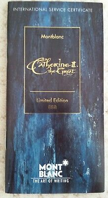888 CATHERINE THE GREAT MONTBLANC GOLD FOUNTAIN PEN PAPERS CERTIFICATE BOOKLET!