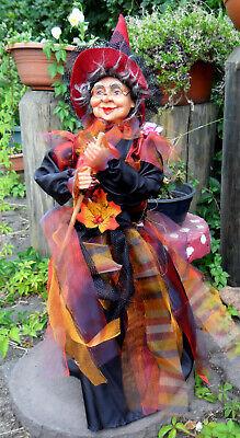 1-59 cm-Hexe,Kräuterhexe-liebes Gesicht mit Brille-Besen-Rot-bunt-Halloween