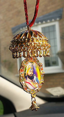 Gold Plated Sikh Guru Nanak Guru Gobind Singh Pendant Chabba Car Mirror Hanging